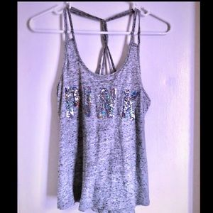 VS Pink Sequin Tank Top Gray Size XS